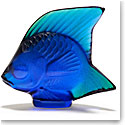 Lalique Crystal, Ferrat Blue Fish Sculpture