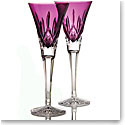 Waterford Crystal, Lismore Amethyst Toasting Crystal Flutes, Pair