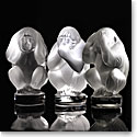 Lalique Crystal, Wisdom Three Wise Monkeys, Clear Set