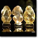 Lalique Crystal, Wisdom Three Wise Monkeys Sculpture, Golden Set