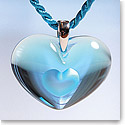 Lalique Crystal Amoureuse A La Folie Pendant Tendreheart, Light Blue Crystal