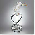 """Nambe Metal Infinity Bud Vase, Large, With Silk Orchid 12"""""""