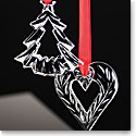 Orrefors 2017 Holiday Heart and Tree Ornament Set