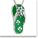 Cashs Ireland, Rhodium Lucky Shamrock Flip Flop Pendant Necklace