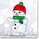 Swarovski Crystal, Snowman With Red Hat Crystal Figure