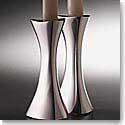 """Nambe Metal Tri-Corner 9 3/4"""" Candlesticks, Pair"""
