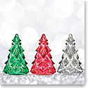 Waterford 2018 Mini Christmas Crystal Trees Set - Clear, Green and Red