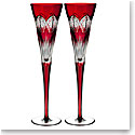 Waterford Crystal, 2018 Times Square Ruby Crystal Flutes, Pair