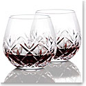 Waterford Crystal, Huntley Stemless Light Red, Pinot Noir Wine Glasses, Pair