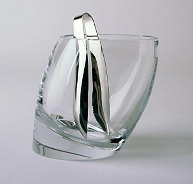 Nambe Crystal Tilt Ice Bucket & Tongs