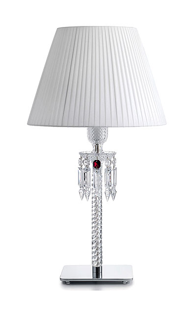 Baccarat Crystal, Torch Crystal Lamp With White Shade By Arik Levy