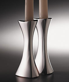 Nambe Metal Tri-Corner Candlesticks