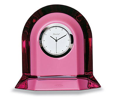 Baccarat Vega Small, Peony Pink Clock 3in H X 3 3/8in L