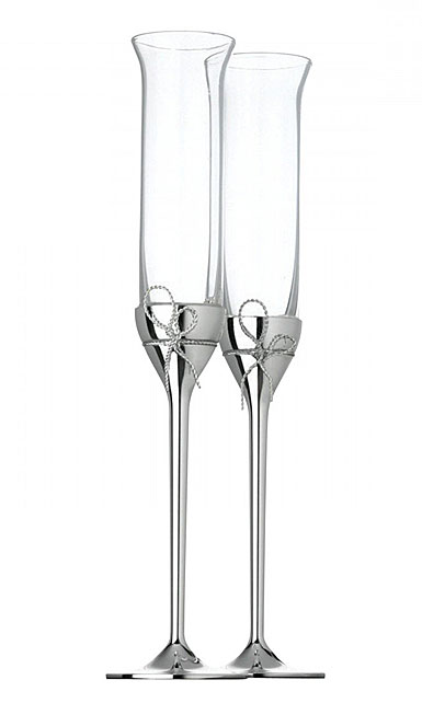 Vera Wang Wedgwood, Crystal and Silver Love Knots Toasting Crystal Flutes, Pair