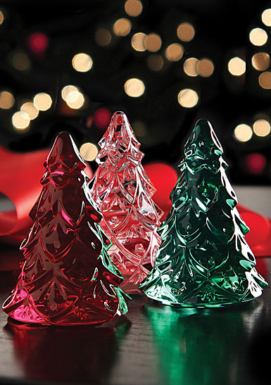 Waterford Crystal Mini Christmas Trees Set - Clear, Green and Red