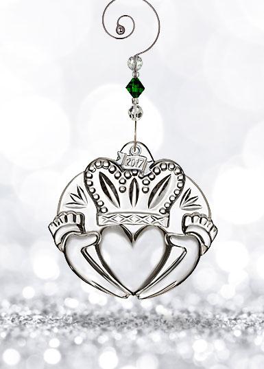 Waterford Crystal, 2017 Claddagh Crystal Ornament
