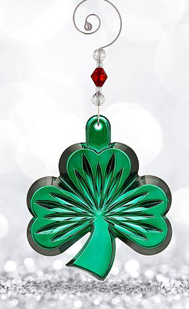 Waterford Crystal, 2017 Green Shamrock Crystal Ornament