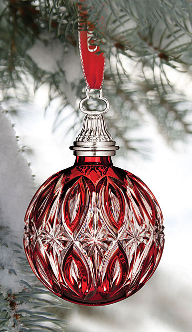 Waterford Crystal, 2017 Red Cased Ball Crystal Ornament
