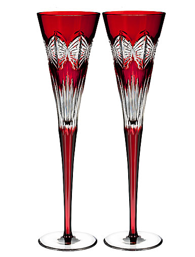 Waterford 2018 Times Square Ruby Flute, Pair