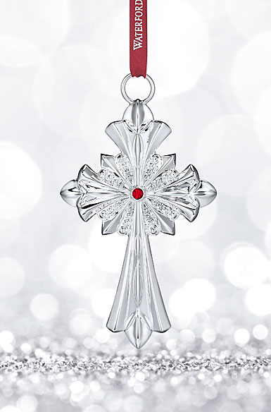 Waterford Silver Annual Crystal Cross Ornament