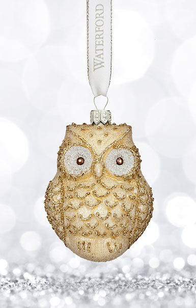 Waterford 2017 Holiday Heirloom Winter Frost Lismore Golden Owl Ornament