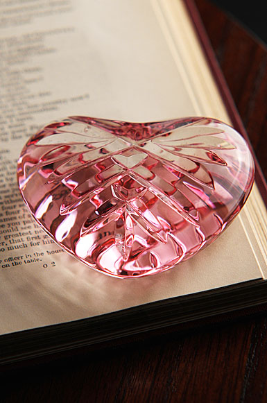 Waterford Crystal Giftology Pink Heart Crystal Paperweight