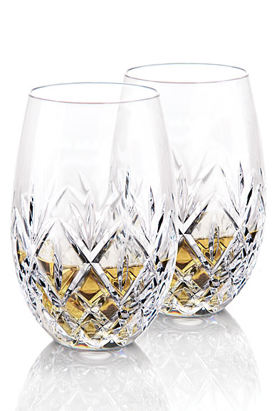 Waterford Crystal, Huntley Stemless Crystal White Wine Glasses, Pair