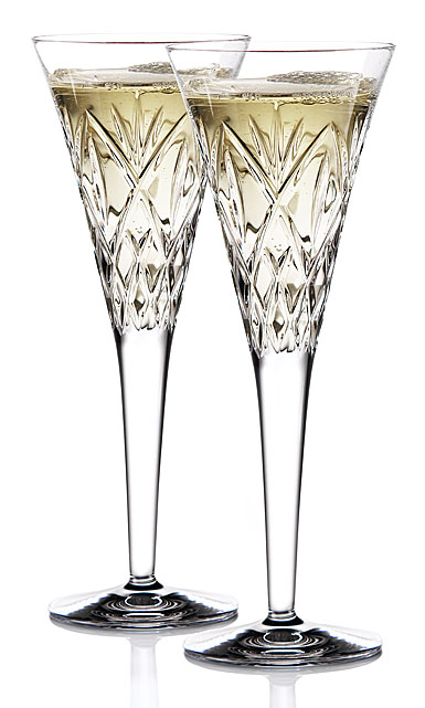 Waterford Huntley Celebration Toasting Crystal Flutes, Pair