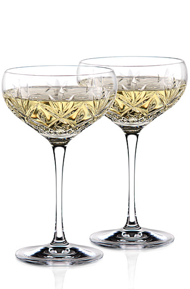 Waterford crystal huntley champagne cocktail coupe glass pair - Waterford champagne coupe ...