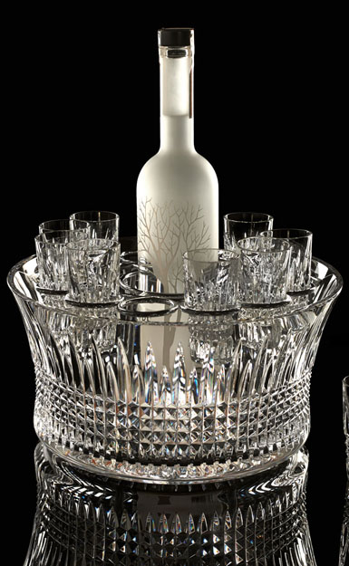 "Waterford Crystal, House of Waterford Lismore Diamond 12"" Crystal Bowl Vodka Chill Set"