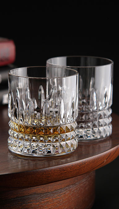 Waterford Crystal, Lismore Diamond Straight Sided Crystal Whiskey Tumblers, Pair