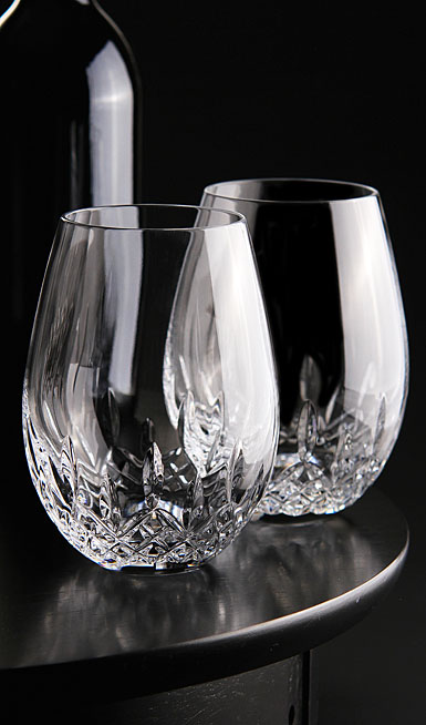 crystal waterford lismore nouveau stemless deep red wine pair