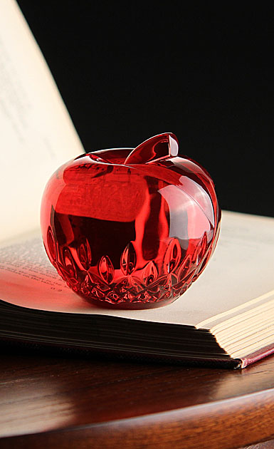 Waterford Crystal, Lismore Red Apple Crystal Paperweight
