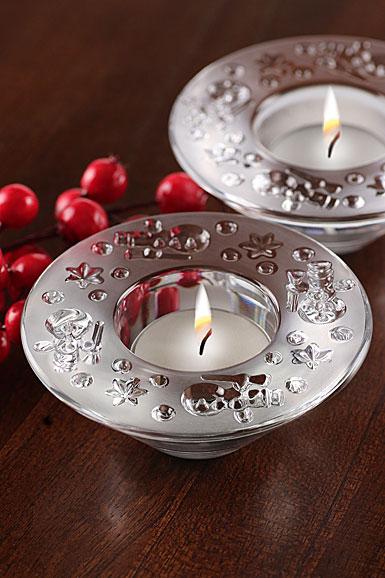 Waterford Crystal, Christmas Snowman Tealight Crystal Votives, Pair