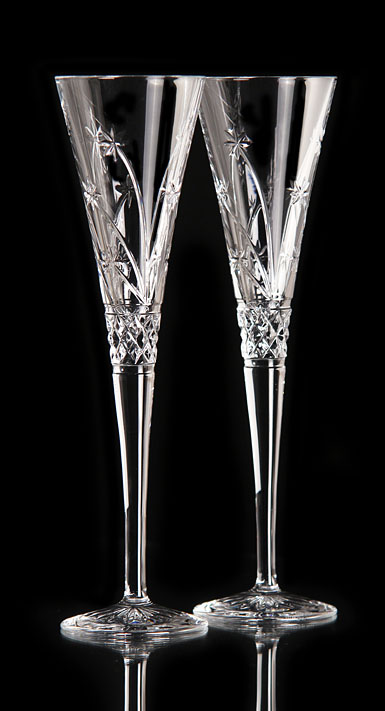 Waterford Wishes Believe Flutes, pair