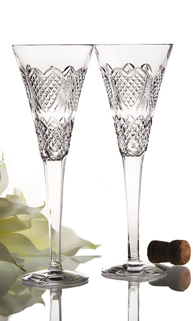 Waterford Wedding Heirloom Flutes, pair