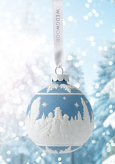 Wedgwood Building a Snowman Blue Ornament