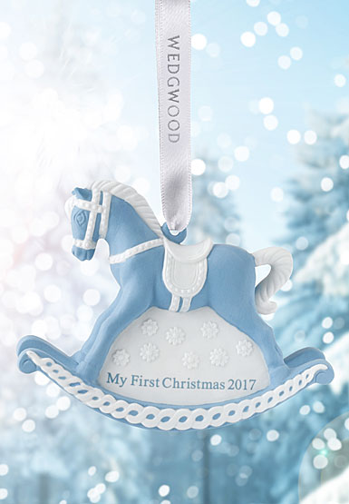 Wedgwood 2017 Baby's 1st Rocking Horse Blue Ornament