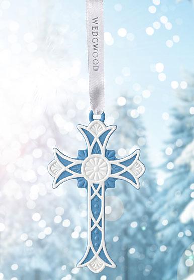 Wedgwood 2018 Figural Cross Blue Ornament