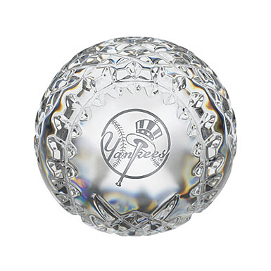 Waterford New York Yankees Crystal Baseball