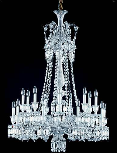 Baccarat Crystal, Zenith Long Crystal Chandelier, 18 Light