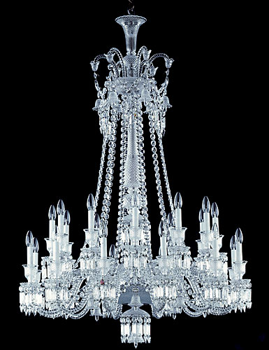 Baccarat Crystal, Zenith Long Crystal Chandelier, 24 Light
