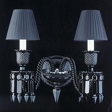 Baccarat Zenith 2 Light Black Sconce Starck By Philippe Starck